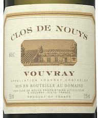 Chenin blanc clos de nouys Vouvray label